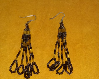 Antique, Hand-loomed Native American beaded dangle earrings