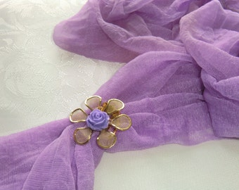 Scarf clip, gold metal flower with a purple caboshon -pay for 3 different ones  - get  extra one free