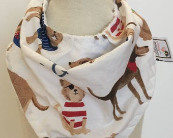 custom bandana bib ~ navy salty dog ~  drool bib ~ chic couture ~ baby accessories ~ custom bandana bib from lillybelle designs