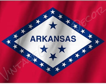 Arkansas State Flag on a Metal Sign