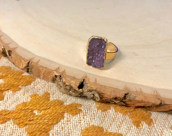 Geode Druzy Crystal Adjustable Ring - Free Shipping
