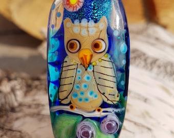 Lampwork Owl bead, artisan glass Owl focal bead, lampwork glass pendant for necklace handmade beading supply