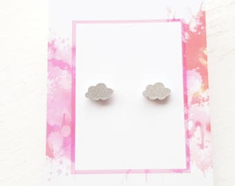 Cloud earrings cloud studs silver cloud studs silver cloud earrings glitter cloud earrings glitter cloud  studs weather earrings jewellery