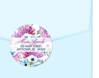 Personalized Address Labels / Flower Stickers / Anemones Lilacs Labels / Return Address Label / Envelope Seals / Wedding Labels / Thank You