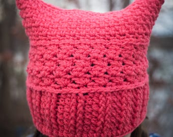Girls pink cat hat, crocheted cat hat, women's rights hat
