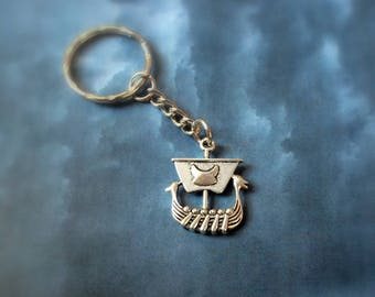 Viking Ship Keychain Keyring, Viking Ship, Viking Boat, History geek, gift for him, nordic keychain, geek gift, viking longboat keychain
