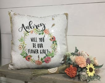 Will you be my flower girl - Mermaid Pillow - Flower Girl Proposal - Hidden Message Pillow - Custom Pillow - Reversible Sequin Pillow