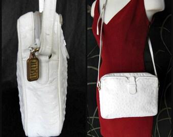 White Ostrich Purse / Ostrich Shoulder Bag / Ostrich Crossbody / Lisette vintage Purse / Lisette vintage Ostrich Purse