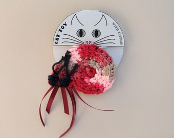 Cat Toy Crinkle Catnip Crochet Hermit Crab with Tapestry Turbo seashell custom fill with POTENT catnip (catmint) or lavender sachet