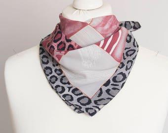 "vintage Square scarf, polyester scarf, fabric women scarf shawl 50cm / 20"" animal print leopard scarf black gray red"
