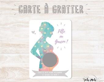 VERSION FRANCAISE - Carte à gratter - Annonce/Découverte du sexe de bébé - Grossesse