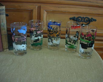 Mid Century Famous Cities of the World Glasses: Set of 5 Highball Glasses Mad Men Style Bar Ware