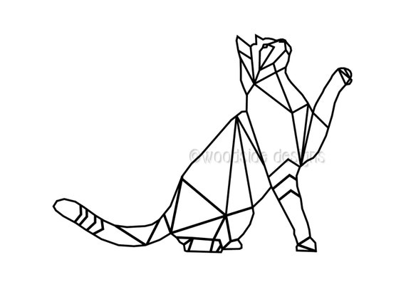 Geometric Cat Print INSTANT DOWNLOAD Wire Triangular