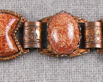 Vintage Gold Stone & Copper Bracelet
