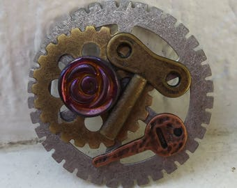 Handmade steampunk lapel pin/ keys