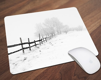 Winter Scene Mouse Pad, Snowy Mouse Pad, Snow Covered Tree, Landscape Mouse Pad, Office Gift, Co-Worker Gift, Boss Gift, Student Gift
