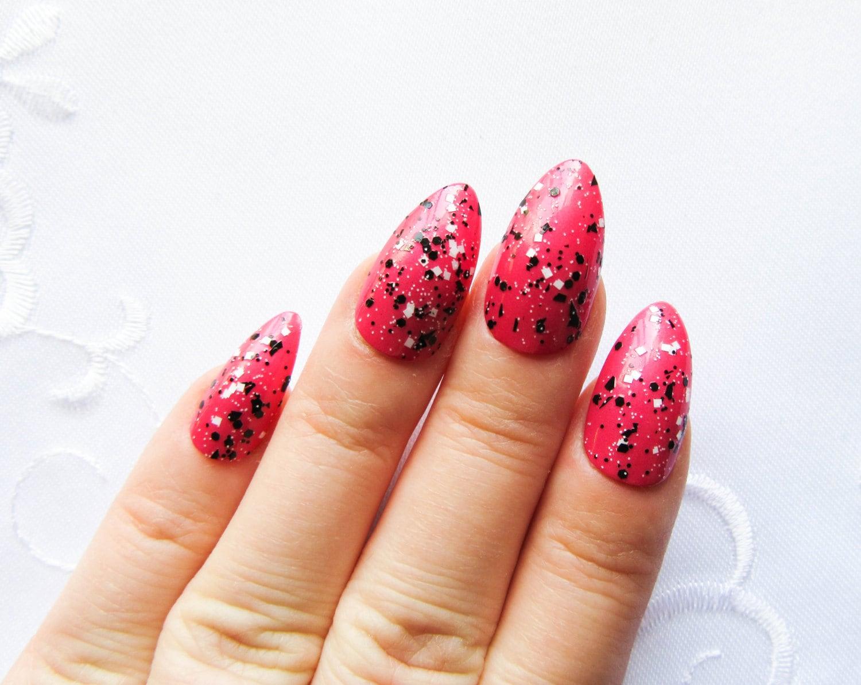 Magenta with Glitter Stiletto Nails Fake Nails Acrylic
