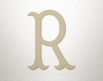 Digital Antique Letter - R - Antique Letter - Vintage