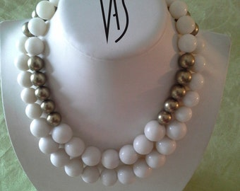 Nouakchott Beaded Necklace White Onyx and Colored Beads