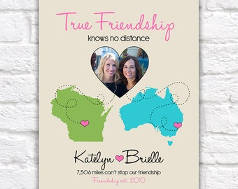 True Friendship Quote, Gift for Best Friend -  Custom Art Print, Christmas Gift for Friends, Long Distance Relationship, Sisters, Moving