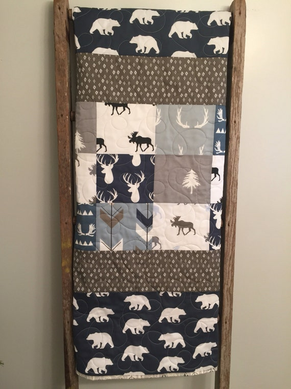 Woodland Baby Quilt Boy Bedding Moose Buck Antlers Arrows Deer Stag Elk Navy Blue Gray Grey Greige Nursery Toddler