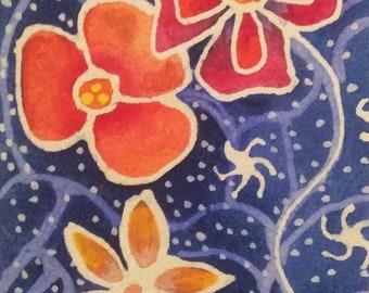 Original painting, Red flower, orange flower