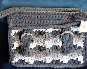 Fabric yarn bag, grey tones, lined, with shoulder strap