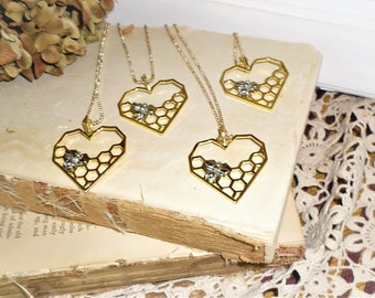 Gold Tone Heart Beehive Bee Necklace