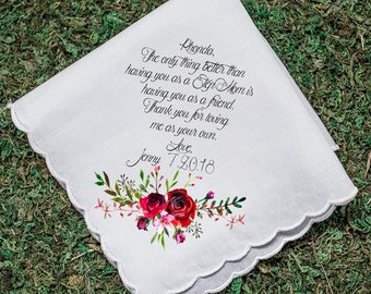 Wedding Handkerchief, Step Mother, Step Mom, Thank you for loving me as your own, Printed Hankie, Parents Thank you Gift, Mom Hankie- 62