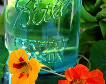 Garden Flowers - Blue Mason Jar - Greeting Cards, Spring, Nasturtium Flowers, Yellow, Orange