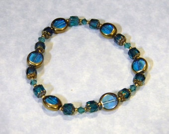 Teal Czech Glass, Cathedral Bead, Crystal and Brass Stretch Bracelet