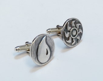 Magic The Gathering Inspired Cufflinks with Blue and White Mana symbols