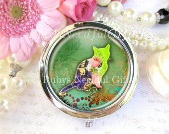 Cat Mirror, Silver Compact Mirror, cosmetic, handbag or purse mirror, Bridesmaid Gift, Birthday Gift, Shabby Cat Mirror.