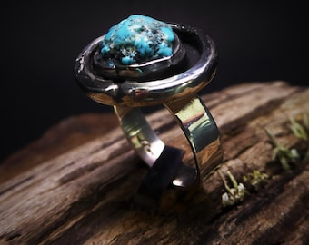 Natural Turquoise Nugget Ring-Cripple Creek Turquoise