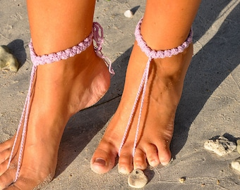 Lilac Shoes Crochet Barefoot Sandals Boho Shoes Violet Footless Sandals Girlfriend Gift  Boho Jewelry Bridesmaid Gift Beach Shoes Honeymoon