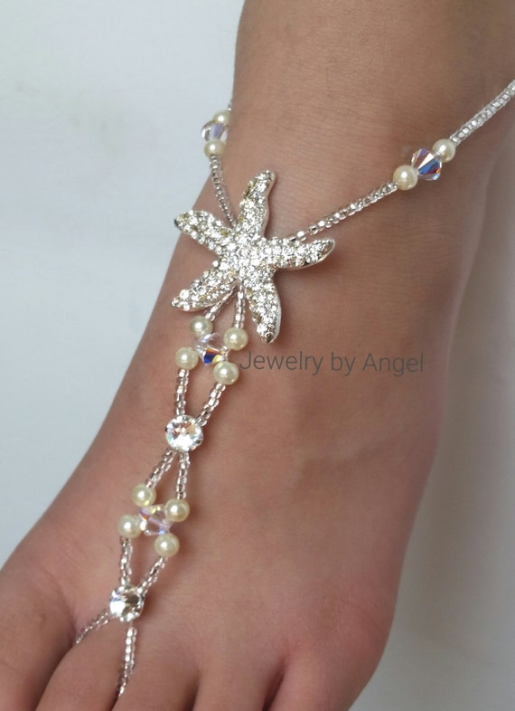 Starfish Pearl Foot Jewelry Crystal Silver Bridal Barefoot