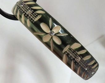 Vintage Art Deco floral relief carved celluloid rhinestone Flapper bangle bracelet green painted