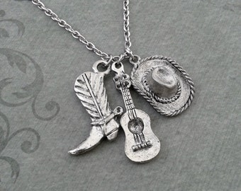 Cowboy Hat Necklace, SMALL Cowboy Necklace, Acoustic Guitar Necklace, Southern Necklace, Texas Gift, Cowboy Boot Necklace Country Music Gift