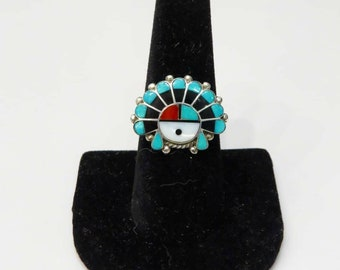 Vintage Sterling Silver Zuni Sun Face Inlay Ring sz 8.5