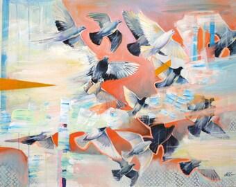 "Bird original large painting in orange, blue, black and white. Orange and black dove painting, app 28x40"" (70x100 cm)"