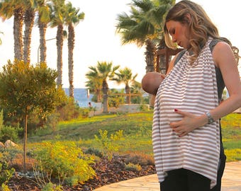 Best Seller! Breastfeeding Cover Up (Nursing Cover Up) in Taupe & Ivory Stripes - A Wonderful Pregnancy Gift or New Mum Gift