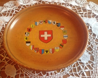 Vintage Reuge swiss musical movement rotating plate decorated with swiss canton sheilds