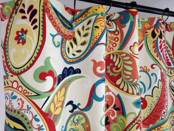 Custom Fabric Shower Curtain Whimsy Paisley Multi Navy Yellow