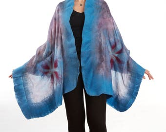 Wool and Silk Scarf, Nuno Felted, Shawl, Wrap, Greyish Blue Colour