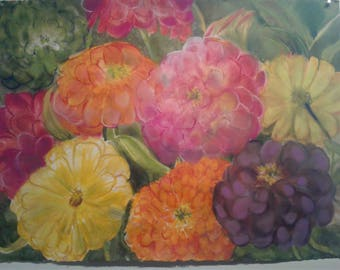Technicolor Zinnias Watercolor Painting