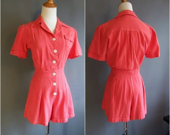 1940s coral red playsuit, 1930s playsuit, 40s playsuit, 1940s romper, 1940s playsuit, 30s romper, cotton romper, medium size, 40s romper