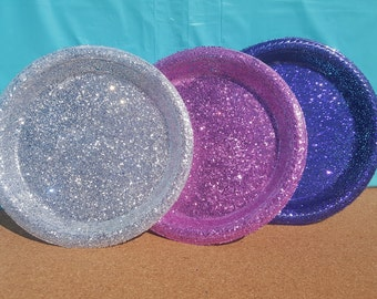 Glitter Plastic Dessert Plates Party Plates (Your Choice of Color) Pink & 50 Gold Mini Dessert Plates Gold Wedding Mini Dessert Plates