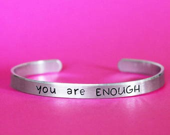 You Are Enough Bracelet, Empowered Jewelry, Motivational Encouragement, Self Worth Brave