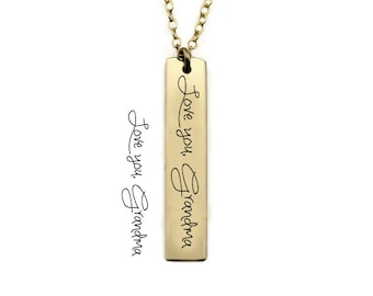 Signature Bar Necklace - Vertical Handwriting Bar Necklace - Memorial Necklace - Signature Bar Necklace - Custom Handwriting