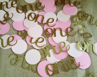 "125 piece ""One"" Confetti, Girls 1st Birthday, Birthday Confetti, 1st Birthday Confetti"
